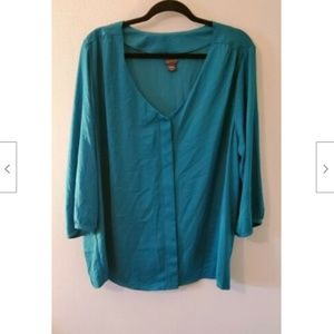 NWOT Covington 3X Teal Covered Button Tunic